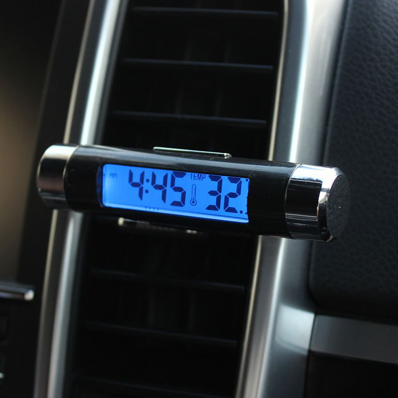 Car Digital Time Air Vent Outlet Clock Clip On Thermometer Auto Clock Thermometer Mini Clock electronic thermometer