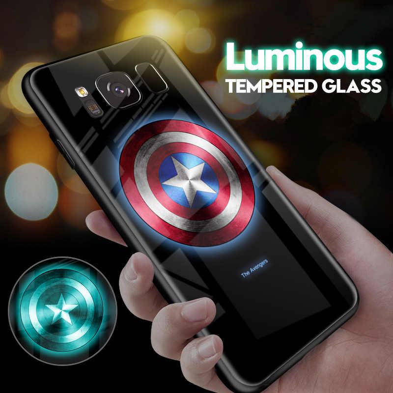 Cahaya Dingin Luminous Karet Grip Case untuk Samsung Galaxy Note 8 9 Note10 PLUS 5G NOTE10 + S8 S9 S10 plus Tempered Glass Telepon Cover