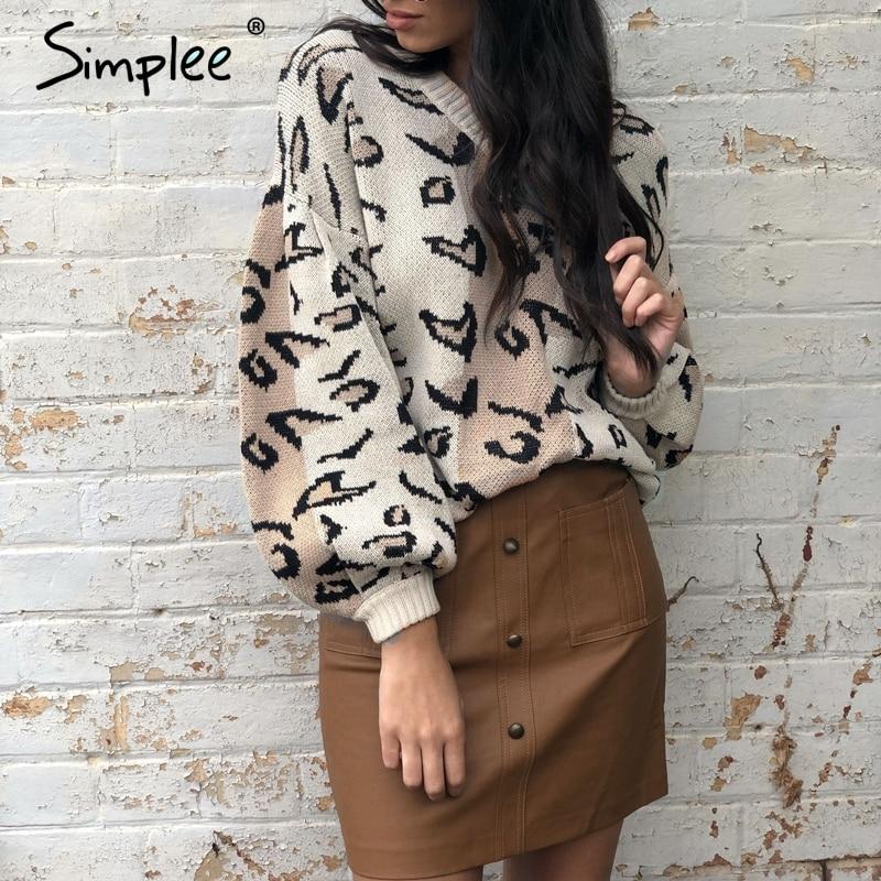 Simplee Leopard Print Women Pullover Sweater Autumn Winter Female Casual Jumper Sweater Lantern Sleeve Streetwear Ladies Overall