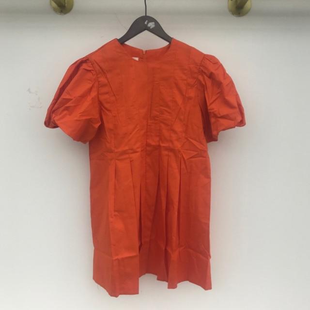 [EWQ] 2021 New Summer Women Vintage Loose High Waist Slim Was Thin Elegant Folds Puff Sleeve O-neck Mini Dress ZA4580 6