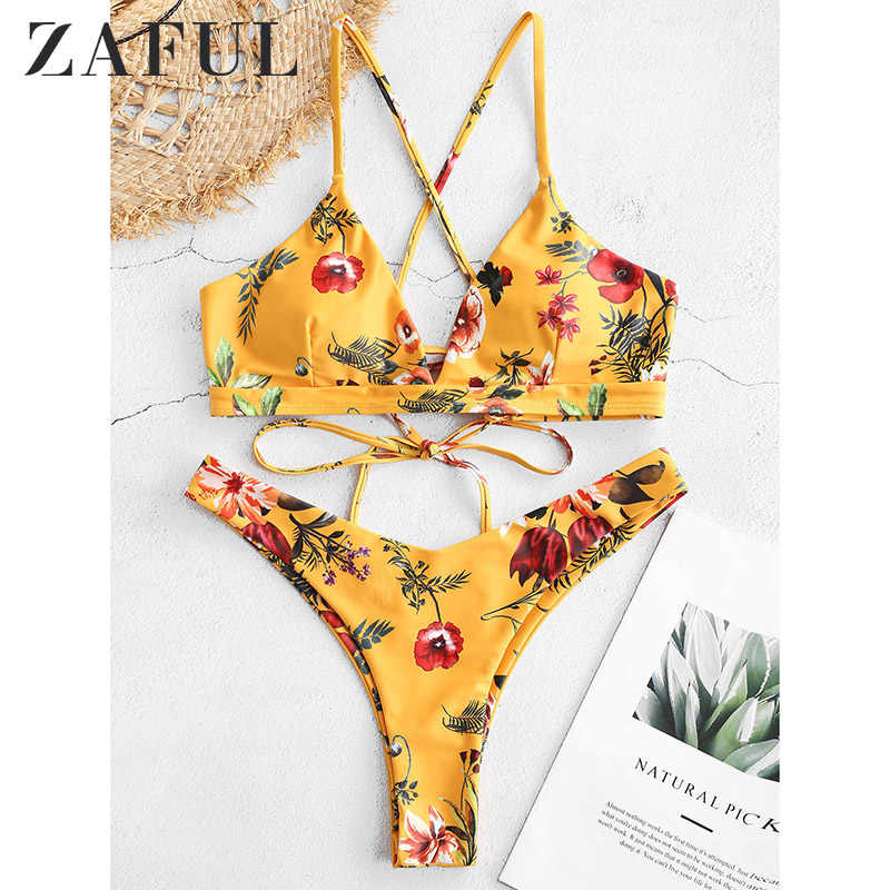 ZAFUL Flower Bikini Set Retro Women Push up Bra Bandeau Bikinis Padded Summer Female Biqinis Lace Swimsuit Brazilian Beachwear