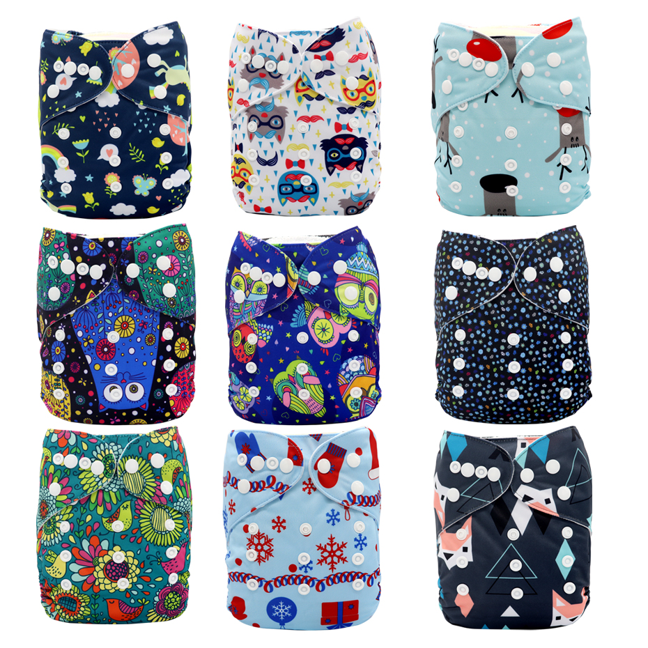 MABOJ Cloth Diapers Baby 9pcs Pocket Cloth Diaper One Size Reusable Washable Nappies Character Unisex Baby Care Pants Insert