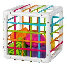Chunky Shape Blocks Cube Box Bin Toy With Elastic Bands Colorful Sorter Shapes Sorting Matching Educational Toy