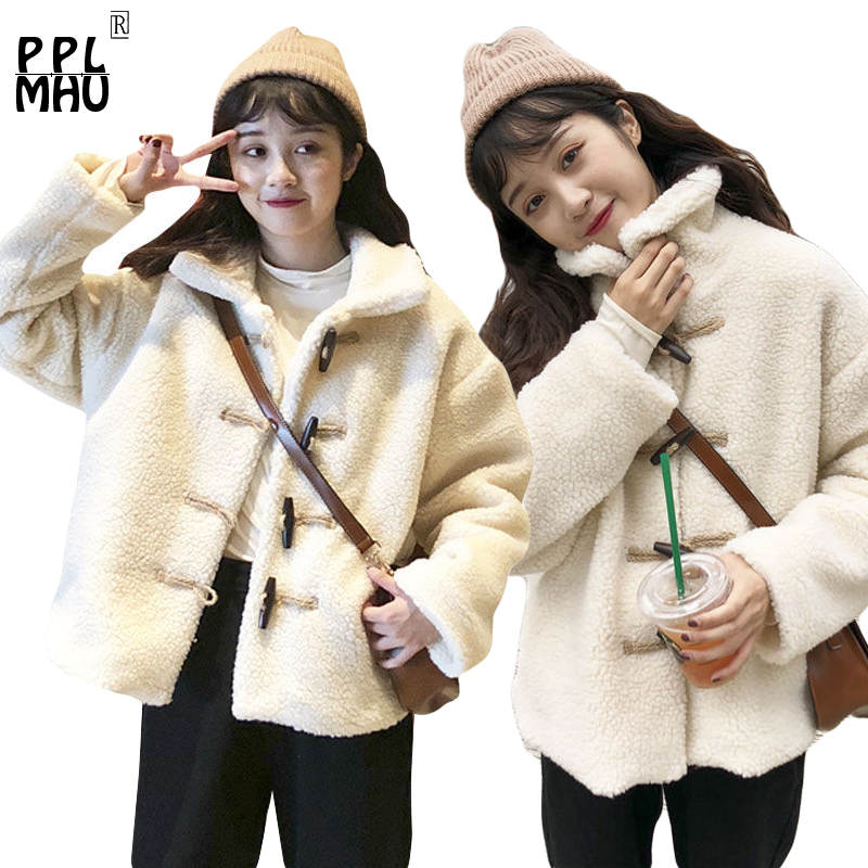 Abrigo de invierno mujer nuevo suéter de tamaño holgado engrosamiento de cordero algodón cálido cuello de chaqueta femenina