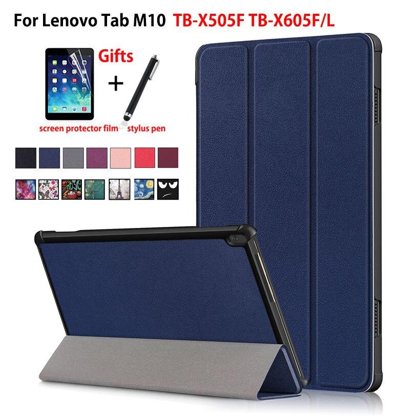 Case For Lenovo Tab M10 10.1 Cover Funda TB-X505F TB-X505L TB-X505X TB-X605L TB-X605F Slim Magnetic Folding Stand Shell +Gift