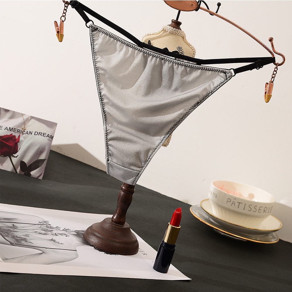 Luxury Satin Seamless Panties G-String Thong Women Sports Sexy Underwear Cotton Crotch Briefs Femme Lingerie