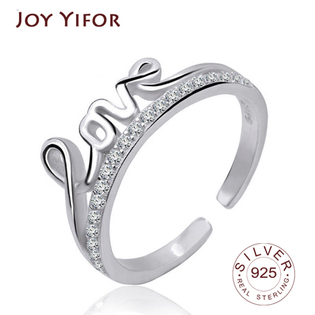 100% 925 Sterling Silver Jewelry Ring For Women Zircon Lover Letter Rings Adjustable Opening Female Rings Gift Party
