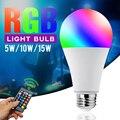 Светодиодный светильник лампы Цвет с регулировкой яркости ИК Управление E27 энергосберегающие Цвет Фул RGB светодиодный ночной Светильник s в...