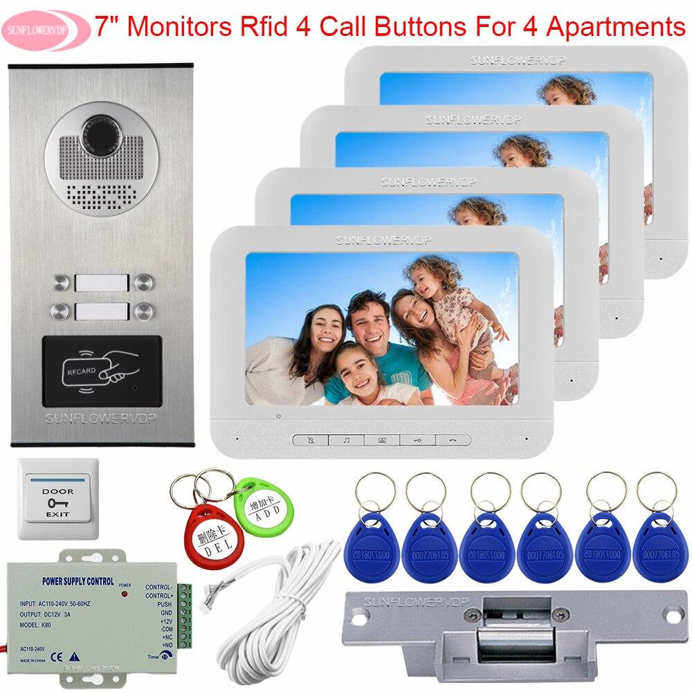 4 Monitors Video Door Phone Intercom Camera Access Control Video Doorphone Monitor 7