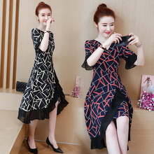L 5XL Lady Party Loose Sexy Elegant fashion Short Sleeve Plus Size Autumn Red Black Yellow Elegant Woman Cocktail Dresses