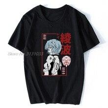 Japón Anime Rei Ayanami Evangelion divertido T camisa de los Hombres Nuevo Negro pantalón corto Casual Manga Camiseta Hombre Manga camiseta Unisex camisetas