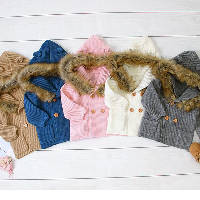 2020 New Winter Baby Boys Girls Knitted Cardigan Jackets Autumn Warm Infant Baby Fur Hooded Sweaters Kids Long Sleeve Coat 1