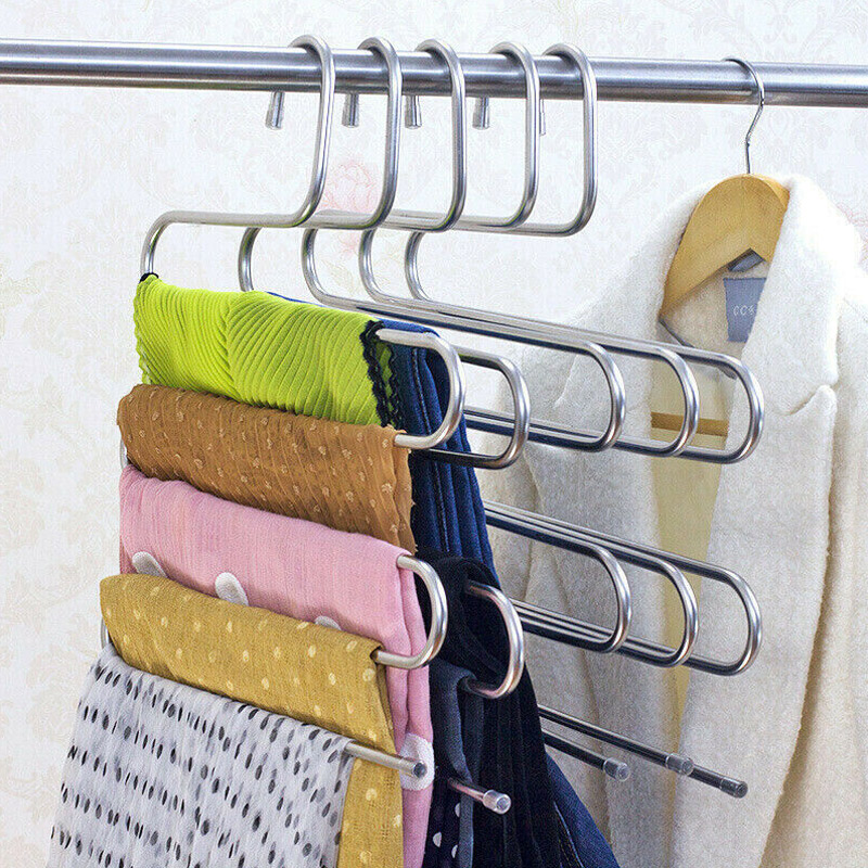 Multi Layers Pants Hangers S-Shape Closet Storage Space Saving For Trousers Home Room E2S