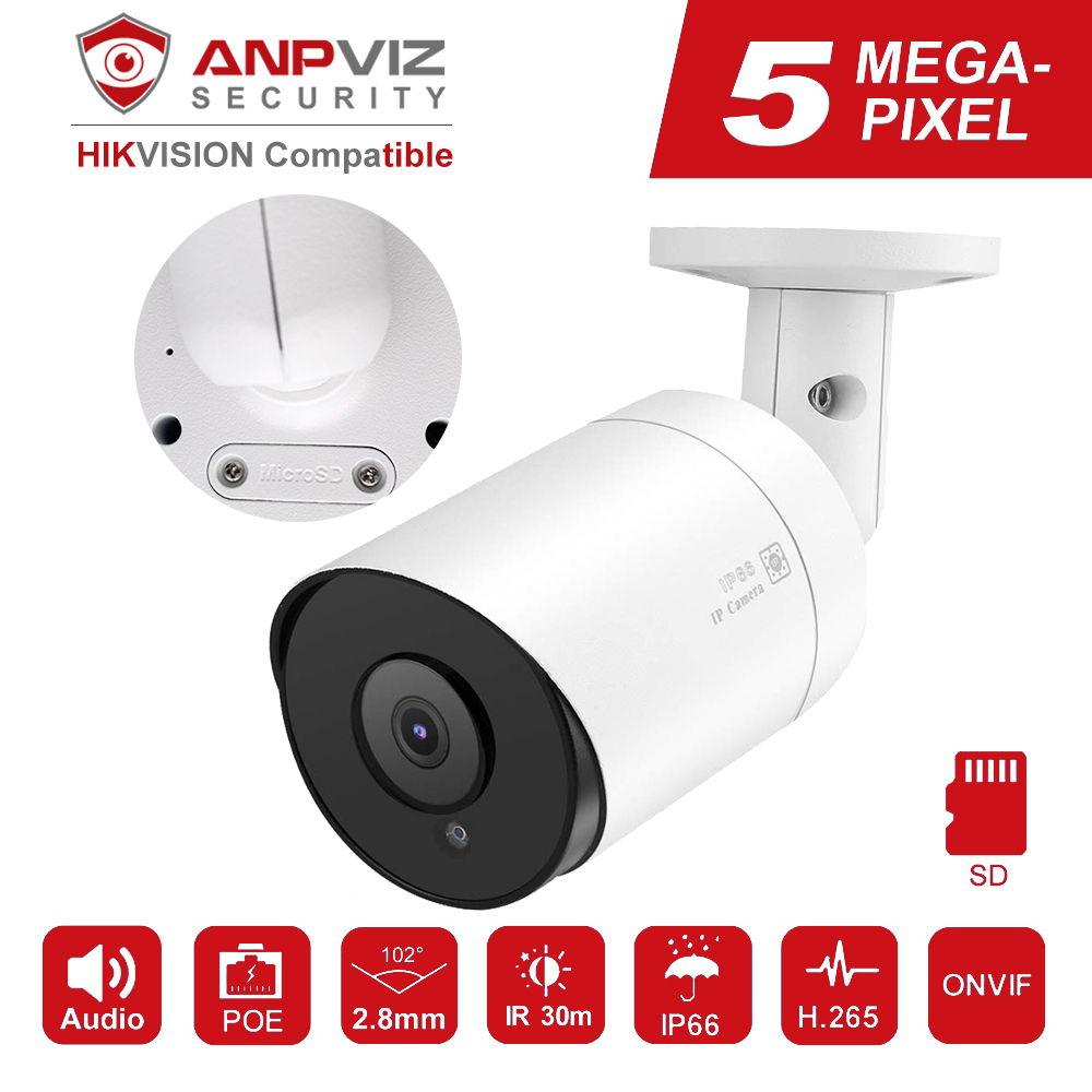 Hikvision Compatible Anpviz 5MP Bullet IP Camera POE Outdoor/Indoor 30m IR Security Camera With Microphone Audio Onvif IP66