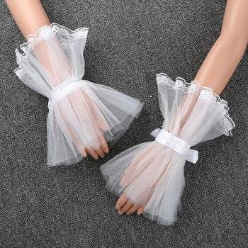 Women Girls Fake Flare Sleeves Handmade Adjustable Ruffled Tulle False Cuffs Sleeves Wrist Cuffs Spring Female Vintage Fashion