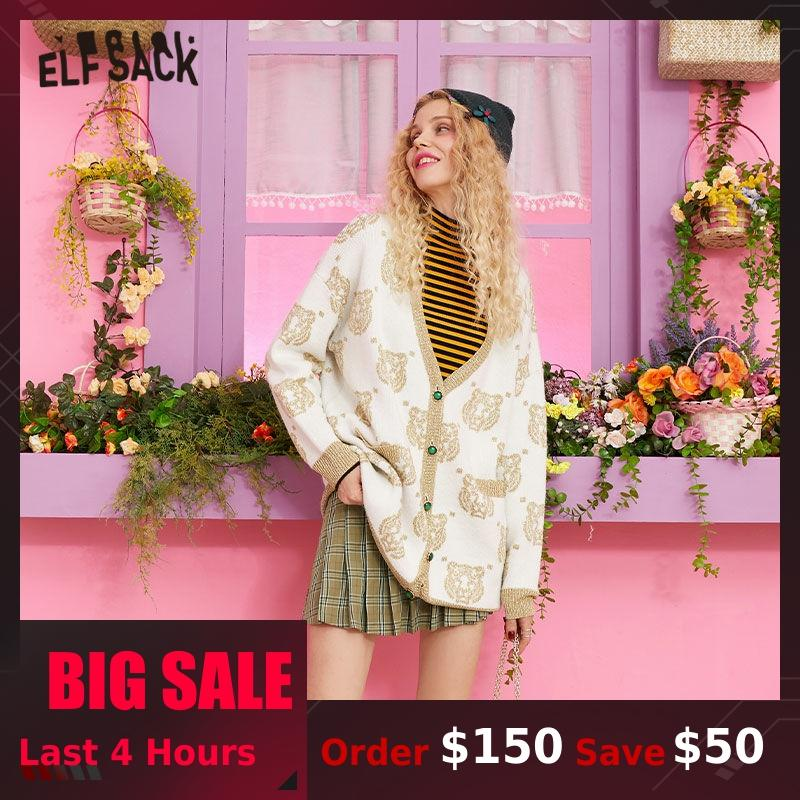 ELF SACK V Neck Tiger Print Button Front Casual Cardigan Sweater Women Clothes 2019 Autumn Korean Style Female Sweaters