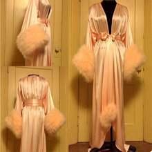 2021; Новинка; Мех; Ночные рубашки для девочек с поясом Свадебные