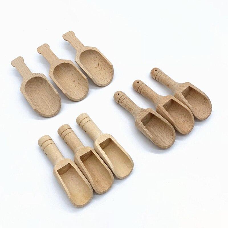 3pcs Mini Wooden Scoops Bath Salt Spoon Candy Flour Spoon Scoops Kitchen Utensils - 2.3x7.6cm 2.5x8.1cm 3x7.8cm