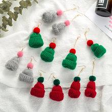 Pendientes colgantes con forma de sombrero de Navidad para mujer, aretes colgantes, color gris, verde, rojo de punto, para fiesta, regalo de Navidad