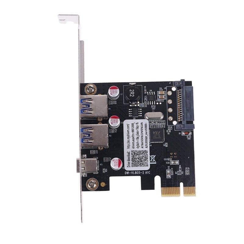 PCIE PCI Express к USB 3,1 Type-C 2 порта USB 3,0 Type-A адаптер расширения с SATA 15 PIN