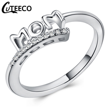 Cuteeco Vintage Silver CZ Zircon Love MAMA Rings High Quality Mom Ring Women Jewelry For Birthday Mothers Day Gift