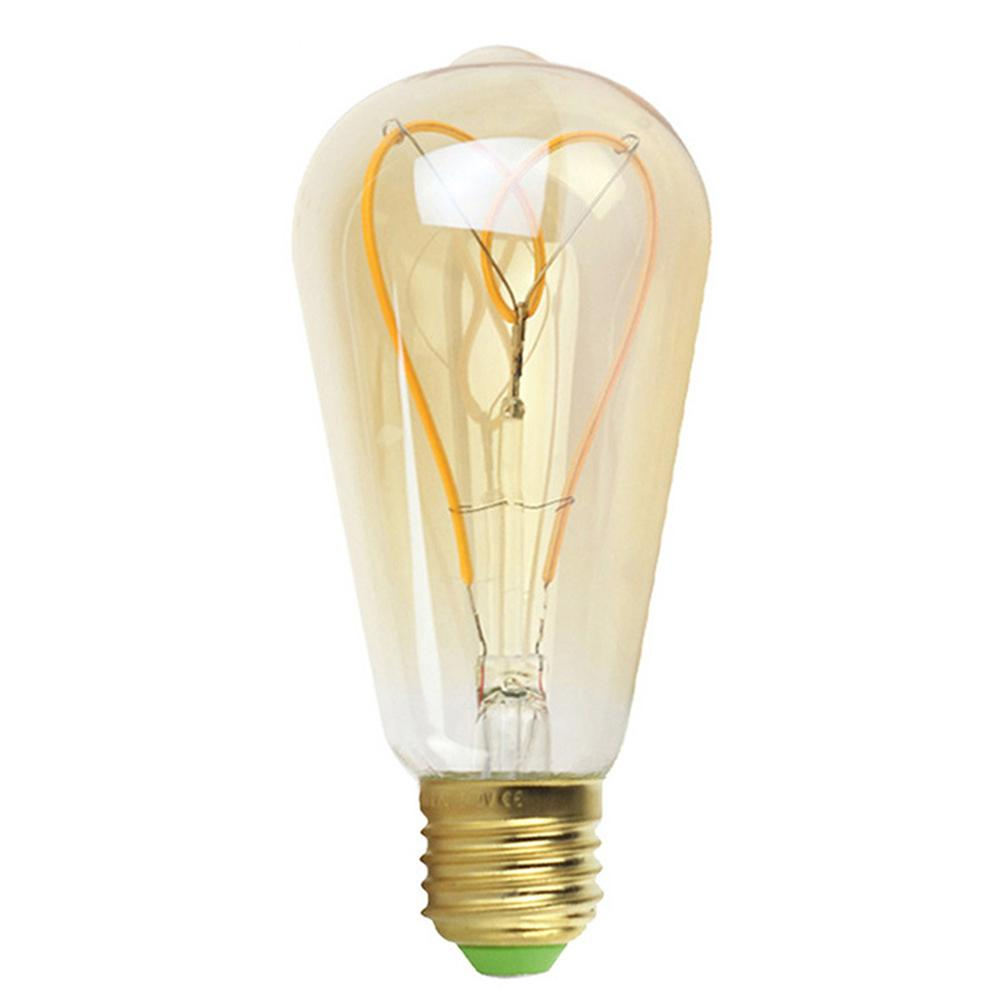 ST64 110V/220V LED Edison Light Bulb Dimmable Heart Shape Soft Light Filament Antique Style Vintage Light Bulb Fluorescent