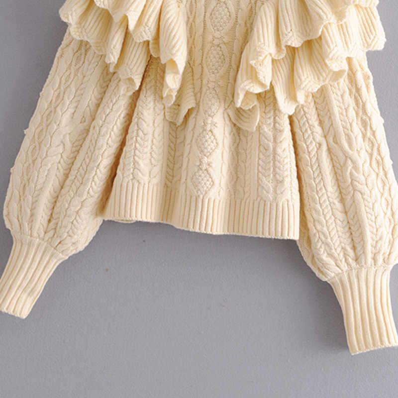 Katara criss 크로스 스웨터 여성 패션 단색 터틀넥 스웨터 여성 우아한 계단식 프릴 스웨터 여성 숙녀 jad