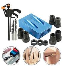 14pcs/set Pocket Hole Jig Kit Woodworking Oblique Hole Locator Drill Bits Pocket Hole Jig 15 Degree Angle Drill Punch Locator