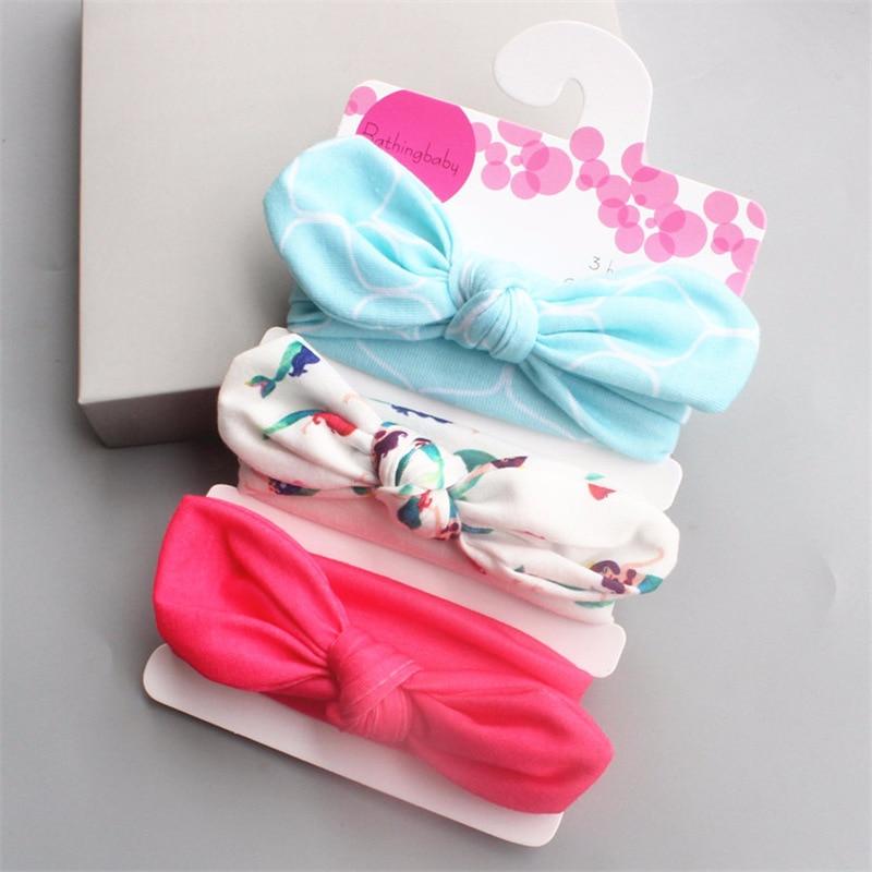 3pcs/lot Rabbit Ears Elastic Wave Point Bowknot Headband Hair Clips For Girls Ball Knitting Headband Elastic Handmade Bow