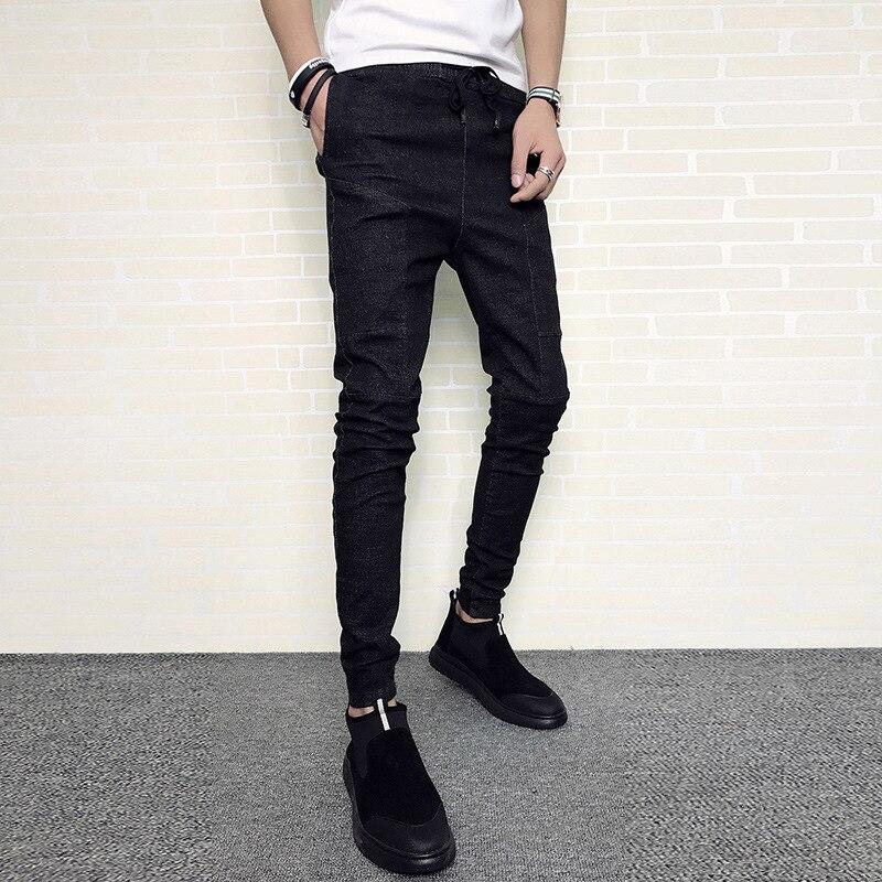 Fanwo Fw2285 2019 Winter New Style Trend Men Solid Color Simple Plus Velvet Thick-Capri Jeans