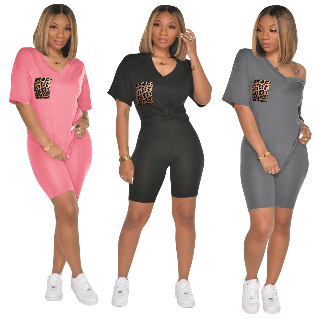 Two Piece Set Summer Clothes For Women Tracksuit Leopard Pocket Top Biker Shorts Sweat Suits 2 Pcs Outfits Matching Sets