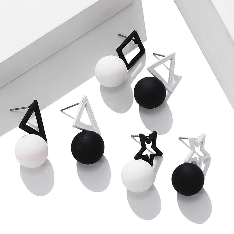 Korean Black White Triangle Square Pentagram Earrings Simple Ball Drop Earrings For Women Fashion Jewelry 2019 Oorbellen Brincos