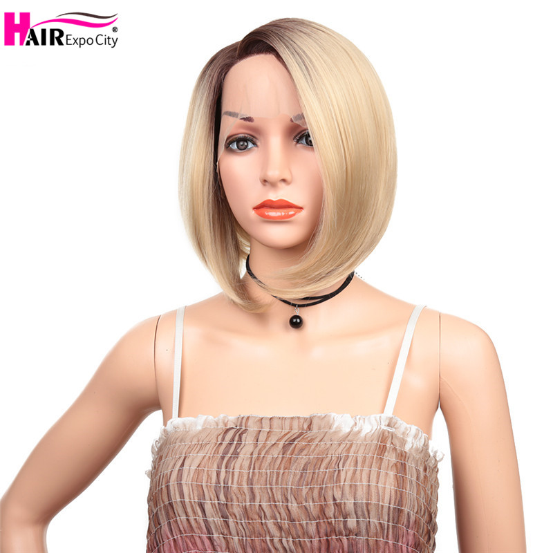 12inch Short Bob Hair Synthetic Lace Front Wig For Women Heat Resistant Cosplay Wig Side Part Glueless Blonde  Hair Expo City
