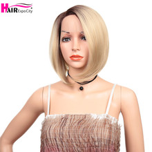 12inch Short Bob Wig Synthetic Lace Front Wig For Women Straight Hair Side Part Wig Ombre Glueless Cosplay Wig Hair Expo City adiors side part slightly curled short bob synthetic wig