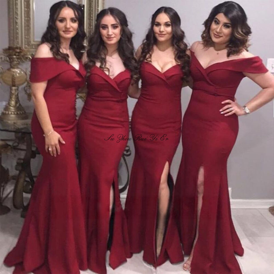 Burgundy   Bridesmaid     Dresses   Side Split Wedding Guest   Dress   For Wedding Party Satin Mermaid Prom Gown Off The Shoulder