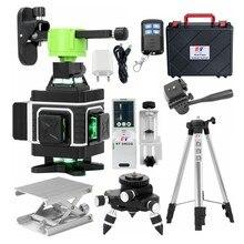 KaiTian niveau Laser 4D 16 lignes à nivellement automatique, croix horizontale et verticale, support 360 Super puissant, Lasers 3D verts, batterie