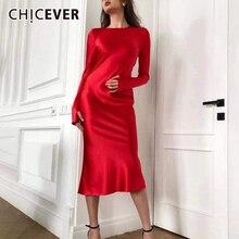 CHICEVER サテンドレス女性 O ネックロングスリーブミディイブニングパーティードレス女性の秋のファッション新 2019 服