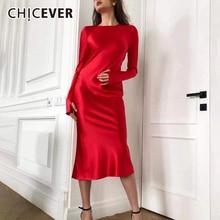 CHICEVER ซาตินชุดสำหรับผู้หญิง O คอยาวแขน Midi Evening Party Dresses หญิงแฟชั่นฤดูใบไม้ร่วงใหม่ 2019 เสื้อผ้า