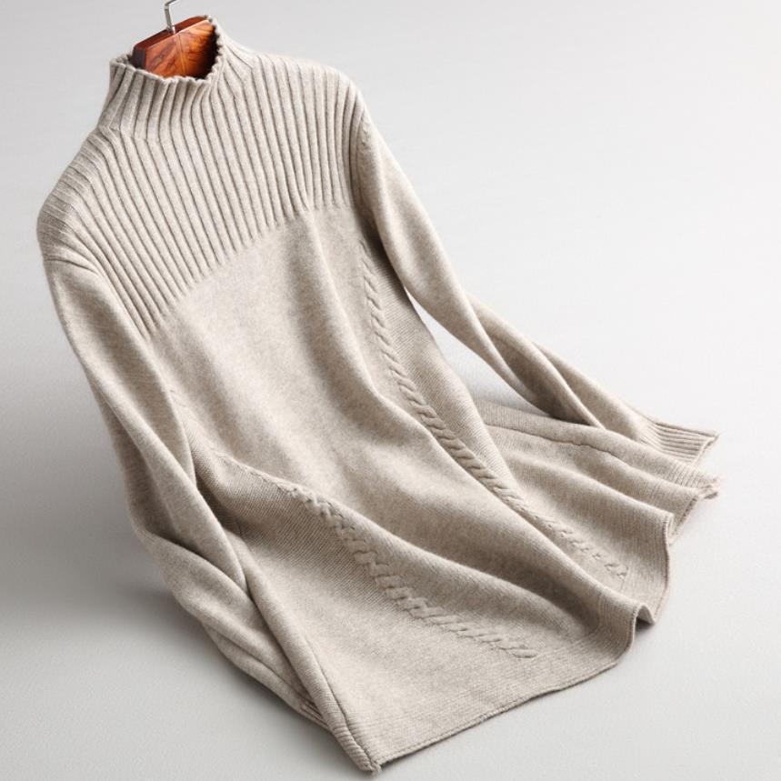 Automne hiver nouveau demi pull col roulé femmes lâche long pull tricoté hauts