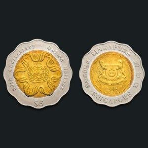 Сингапур 5 долларов США 50-летие двухцветные 1995 новые оригинальные монеты 100% настоящая выдача монет Unc