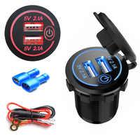 12 V/24 V Auto Zigarette Leichter Buchse Dual USB Auto Ladegerät Adapter Wasserdichte Auto