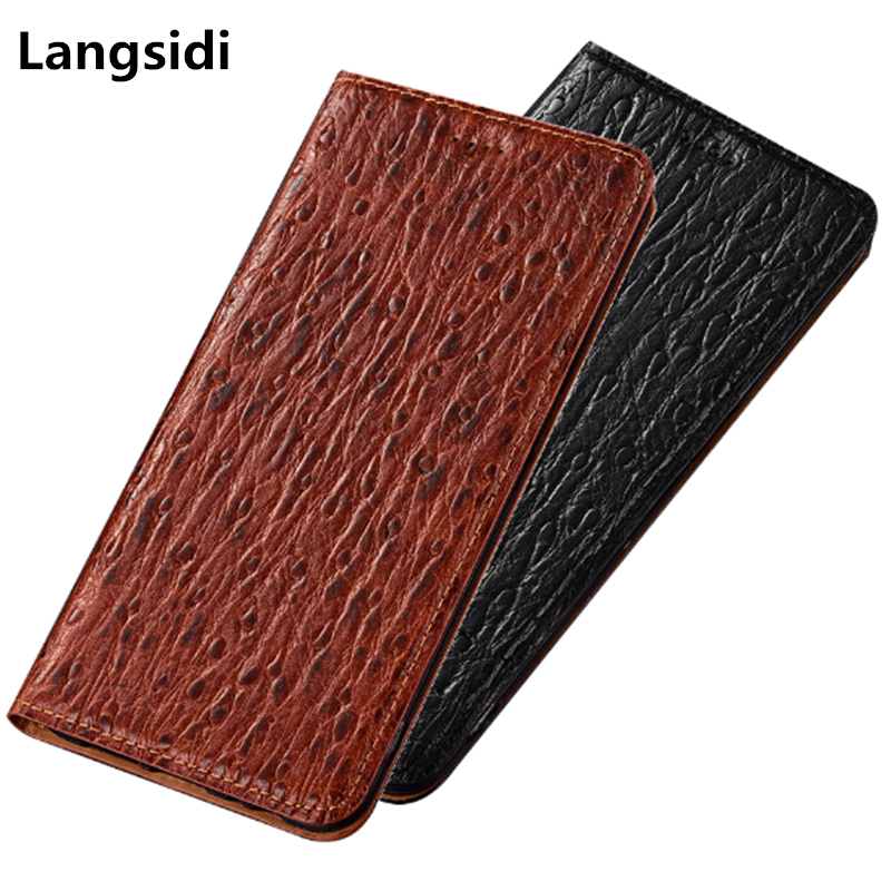 Luxury ostrich pattern genuine leather phone case for <font><b>Samsung</b></font> Galaxy A9 Pro <font><b>A9100</b></font>/<font><b>Samsung</b></font> Galaxy C9 Pro C9100 magnetic flip case image