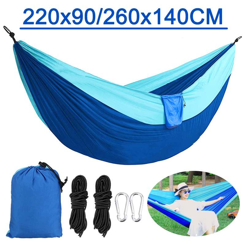 2 Person Garden Hammock Portable Outdoor Hammock Sports Home Travel Camping Swing Chair Canvas Stripe Hang Bed Hammock