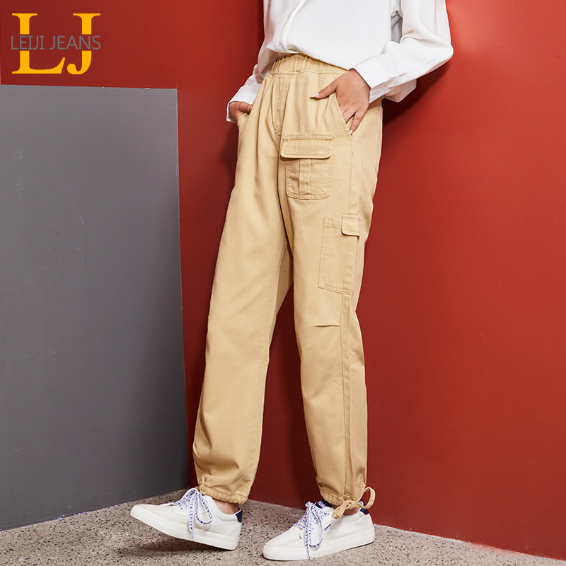 LEIJIJEANS New Large Size Women's Khaki Tooling Ladies Straight Pants Fashion Trend Straps Feet Neutral Wind Straight Pants 9121