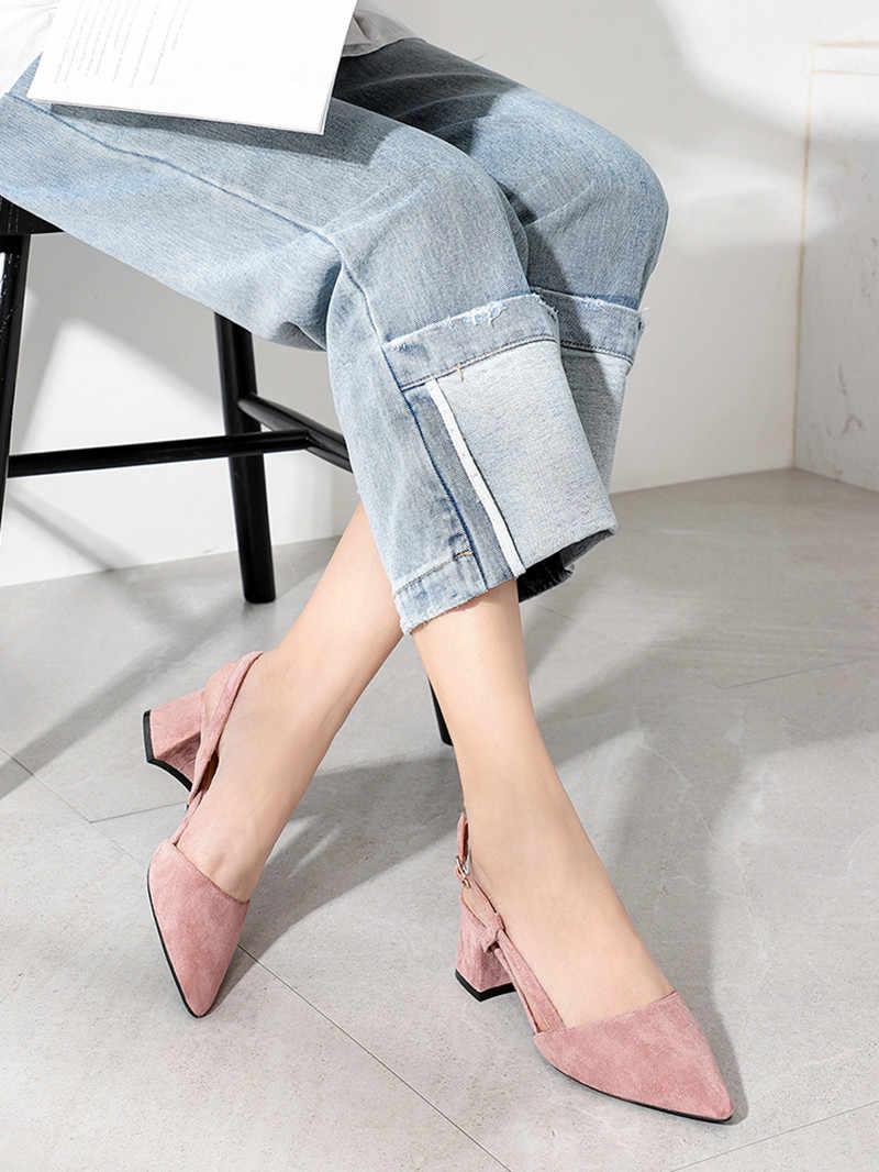 Cao Gót Vuông Nữ Giày Nữ 2020 Đàn Quai Cổ Chân Slingbacks Giày Xăng Đan Casual Đen Nude Cưới Gợi Cảm Mũi Nhọn Người Phụ Nữ Bơm