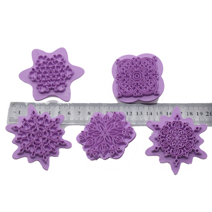 Image 5 - Mandala Lace Pattern Embossing Die Plastic Stamp Polymer Clay Sculpture Texture Stamp Clay Tool 5pcs/set Mandala Dotting Tools