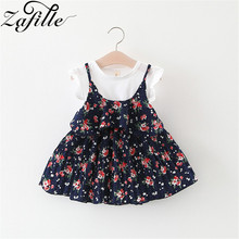 ZAFILLE Cotton Summer Dress Girls Clothing Patchwork Toddler Kids Clothes Sleeveless Printed Baby Girl Clothes 2020 Girls Dress zafille baby girls clothes soft summer dress for girl sleeveless kids clothes toddler patchwork girl dress cotton girls clothing