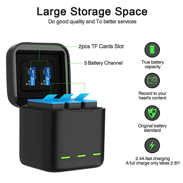 GoPro 9 Battery Charger 3 Way Smart Charging Case Go Pro Rechargeable 1750mAh Battery Storage Box For Gopro Hero 9 Accessories 2