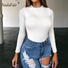 цены на Nadafair Winter White Bodysuit For Women Long Sleeve Bodysuit Women Bodycon Sexy Black Bodysuits One-Piece Body Female 2019 в интернет-магазинах