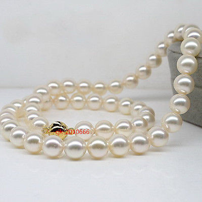 """hot sale Women Bridal Wedding Jewelry >>round AAAAA Luster 17""""9-10 mm REAL NATURAL south sea white pearl necklace"""